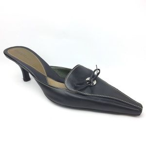 Cole Haan Pointed toe kitten heel bow leather mule